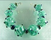 Lampwork Bead Set - SWIRLING WAVES - by FinishingTouchJewels