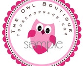 Personalized Pink Owl Round Stickers Set of 20