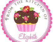 Personalized Flower Cupcake Labels\/Stickers Set of 12