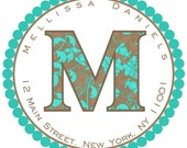 Personalized Monogram Marina Floral Labels\/Seals Blue Large Set of 12