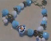 Snowman Smiles Lampwork Glass Winter Holiday Bracelet