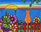 Sunset Garden Orange Tabby Cat-  print Shelagh Duffett
