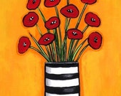 Red Poppies in Striped Vase - Print Shelagh Duffett