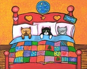 Cat Kitties in Bed with Quilt - print by Shelagh Duffett