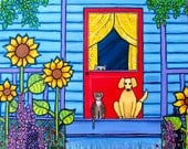 Tabby Cat, Golden Dog, Blue Cottage Porch Sunflowers Shelagh Duffett Print