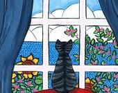 Grey Tabby cat in window Ocean Shelagh Duffett