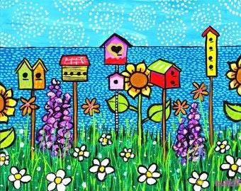 Summer Seaside Birdhouses Shelagh Duffett print