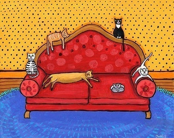 6 Cats on red Couch - Shelagh Duffett Print