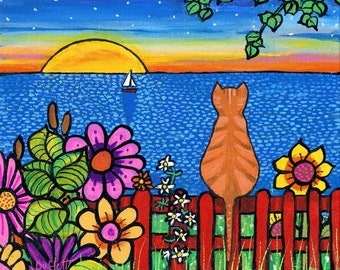 Sunset Garden Orange Tabby Cat-  print Shelagh Duffett