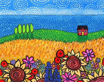 Red Cotttage,  flowers country Nova Scotia Print Shelagh Duffett