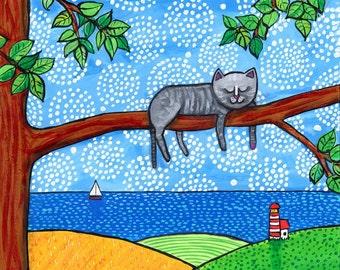 Sleeping Grey Kitty Cat Folkart Print Shelagh Duffett