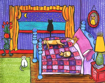 6 Cat Purple Bedroom print by Shelagh Duffett