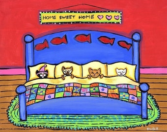 Four Cats in  Blue Bed - Shelagh Duffett  Print