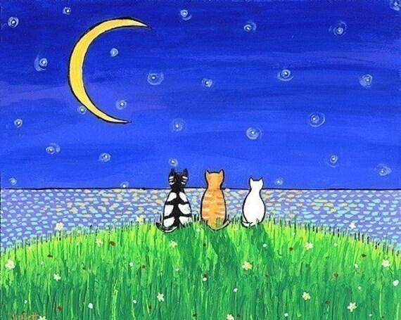 Three Cat Moon Night  Shelagh Duffett print