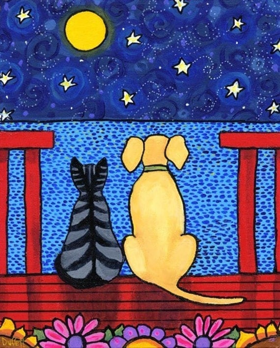 Best Friends......Tabby Cat and Dog - print
