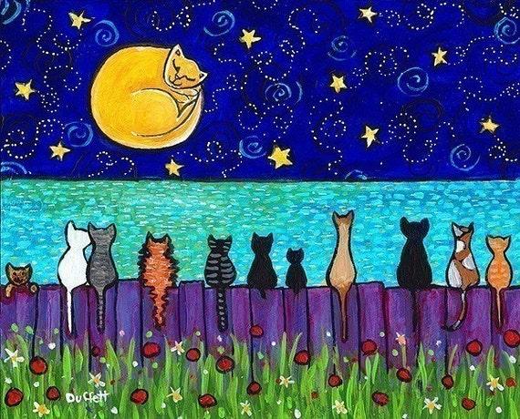Full Moon Cats , cat in moon, kittens, ocean, fence, from painting by Shelagh Duffett
