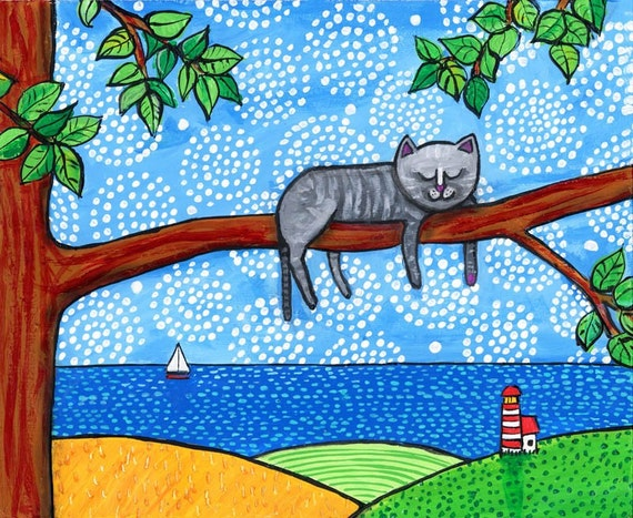 Sleeping Grey Kitty Cat Folkart Print Shelagh Duffett