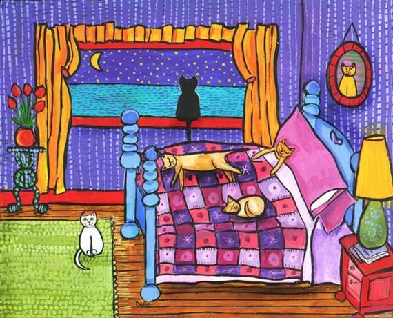 6 Cat Purple Bedroom print by Shelagh Duffett
