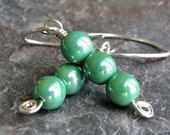 CLEARANCE SALE - Eat Your Peas Please - Glass Beaded Sterling Silver Earrings