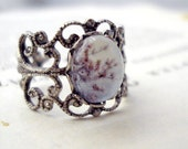 Vintage Filigree Polaroid Photo Ring - Antique Silver - Cherry Blossoms - Great for Weddings, Mothers Day, Bridesmaids, Etc. (LAST ONE)