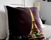 Paris Eiffel Tower Throw Pillow Cover - La Ville Lumiere Polaroid Photo - Unique Parisian Housewarming Gift, Home Decor