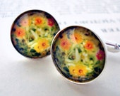 CLEARANCE Photo Cufflinks - Silver - Autumn Blossoms - Great for Weddings, Groomsmen, Father of the Bride, Dad, Best Man, Dudes
