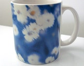 CLEARANCE Coffee Mug with Daisies, Botanical in Blue - Ceramic, Dishwasher Safe - Only One - Fun Housewarming Gift LAST ONE