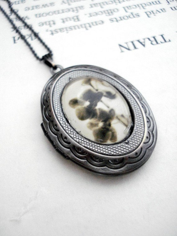 Clearance DISCONTINUED Vintage Style Photo Locket - Orchid Ghosts - Antique Silver Necklace - Great for Weddings, Bridesmaids, Mothers Day