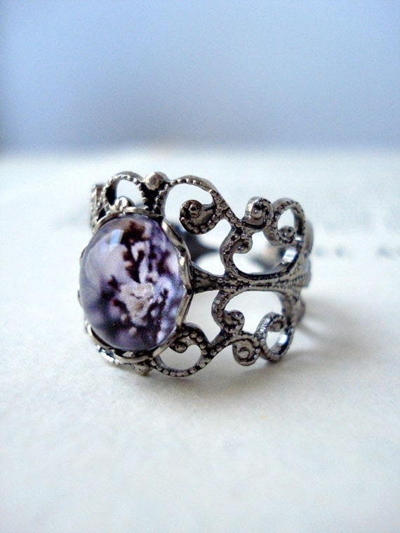 Vintage Filigree Polaroid Purple Photo Ring - Antique Silver - Equinox - Great for Weddings, Mothers Day, Bridesmaids, Etc. (LIMITED STOCK)