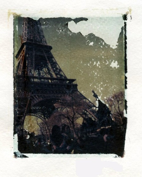 CLEARANCE Original Polaroid Transfer - Picnic by the Tower - Eiffel, Paris France, French Landmark, Parisian Art LAST ONE
