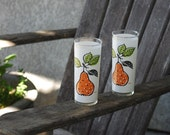 Vintage Glass Drinking Glasses with pears