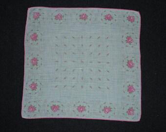 Vintage Hankie Handkerchief Pink and White Flowers