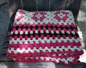 Vintage Crochet Afghan Blanket Throw