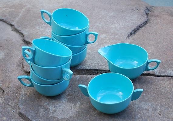 Vintage Set of Miramar Dinnerware Cups, Creamer and Sugar Melamine
