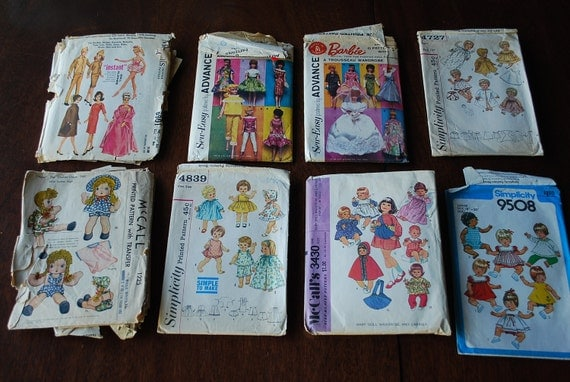 Lot of 8 Vintage Sewing Patterns Barbie and Doll