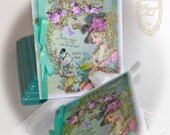 Le Jardin de Lumiere des Etoiles or The Garden of Starlight Set of 6 Cards and Shimmering Aqua Envelopes