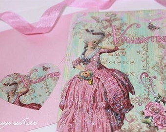 Marie Antoinette de Paris Valentine, Anniversary, Love, Thank You, Shower Cards with Heart Shaped Seals and  Pink Boxed Gift Wrap
