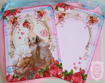 Marie Antoinette Valentine La Belle Pink Roses Invitation or Cards Set  with Pretty Pink Envelopes Heart Shaped Seals Set of 6