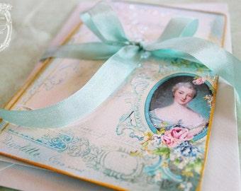 Madame de Pompadour Letters of Passionnante Card Set or Shower, Wedding, Tea Party Invitations Set