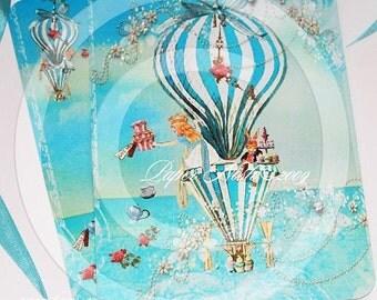 Alice In Wonderland Tea at Four O'Clock Invitations or Card Set of 6