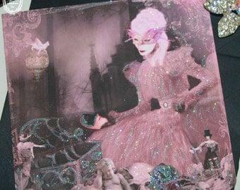 Marie Antoinette Halloween Ghost Story Glittered Card Set of Four with Shimmering Black Metallic Envelopes