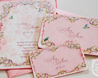 Wedding Invitations la Belle Rouge Roses Marie Antoinette Custom Sample Set with Pink Shimmering  Envelopes