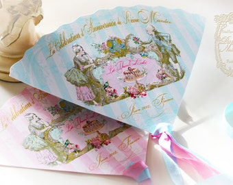 Marie Antoinette Fan invitation, Menu, Placecard, Wedding, Event Die Cut Fan Let Them Eat Cake Bespoke Wedding, Shower, or Event Set of 6