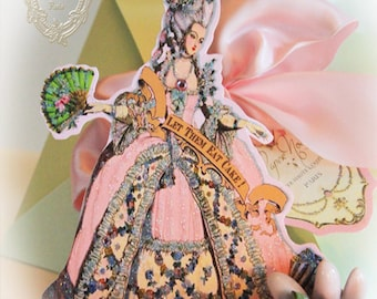 Marie Antoinette Set of 6 Party Invitations Large Die Cut Design with Shimmering Pink Envelopes