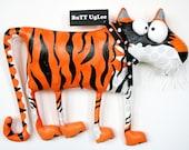 TiGeR named PrincEtoN ... WhimsicaL WaLL ArT ... orange ... black stripes ... BuTT UgLee
