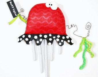 JeLLyFish with SeaWeed ... named Charmin ... red black white grey green ... polka dots ... WhimsicaL WaLL ArT
