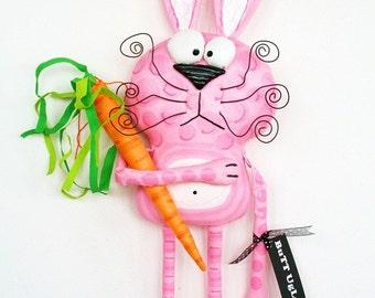 BunnY named Angora ... Easter Bunny ... Whimsical WaLL ArT ...  BuTT UgLee