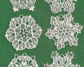 Set of 6 Lace Snowflake Ornaments