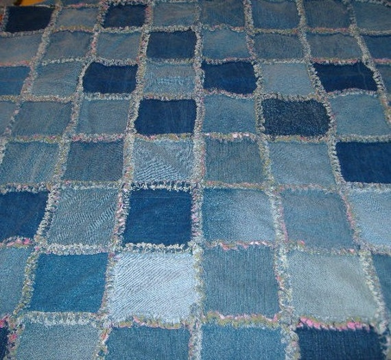 Recycled Blue Jean Denim Rag Quilt Pink And Green Flannel