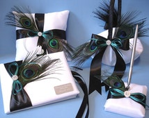 Peacock Theme Wedding Guest Book, Pen, Ring Bearer Pillow, Flower Girl Basket in Custom Colors with Personalized Engraving